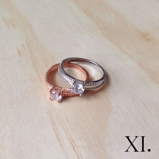 Rose Gold / Silver Plated Diamanté Ring