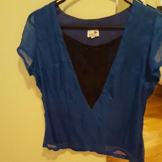 Royal Blue And Black Lace Top