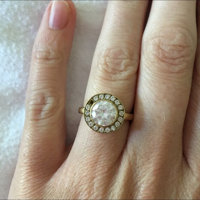 Shhh Secrets Diamond Simulate Genuine 9kt Yellow Gold Ring