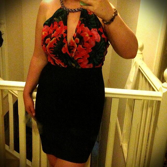 Size Large Floral & Black Dress