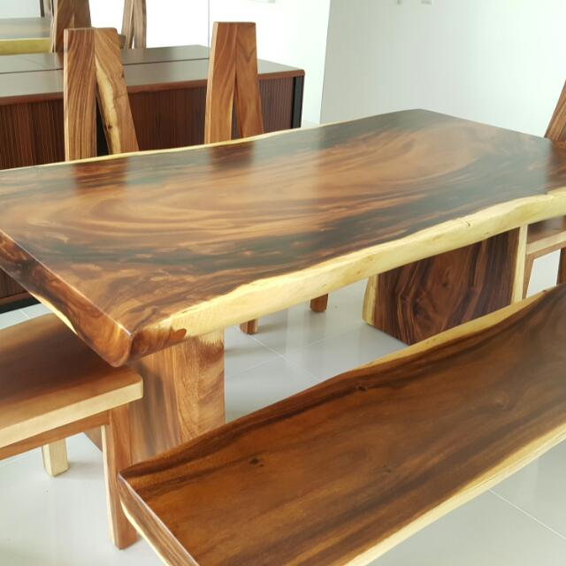 Suar Wood Dining Table Furniture On Carousell - Wodden dining table