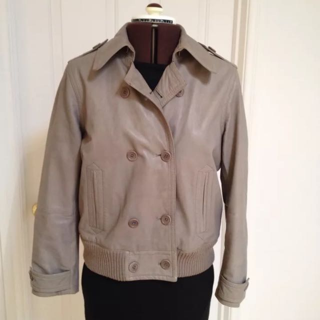 Trenery Leather Bomber Jacket Size L