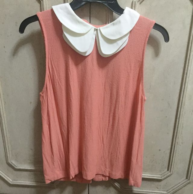 Very Cute Peach Top With Collar From Topshop