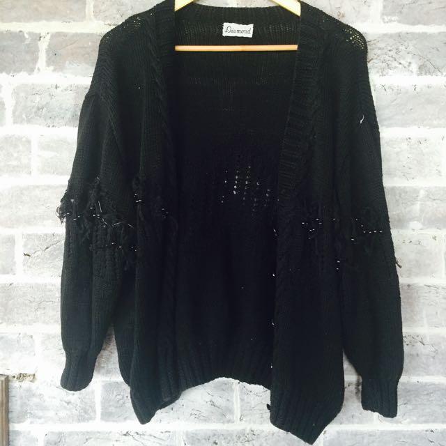 Vintage Beaded Wool Cardigan Size Large