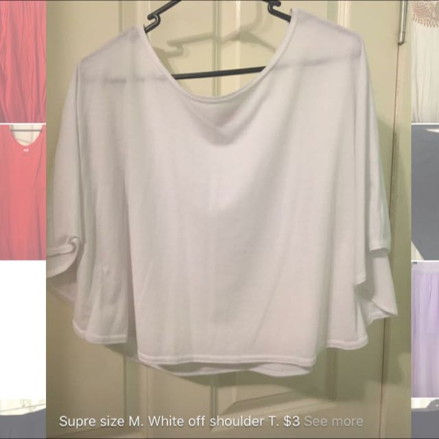 White Off Shoulder Tee. Size M.