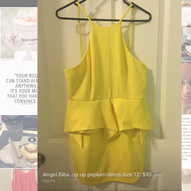 Yellow Peplum Dress. Size 12.