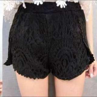 黑色 鬆緊 蕾絲褲