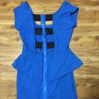 Bright Blue 80's Dress