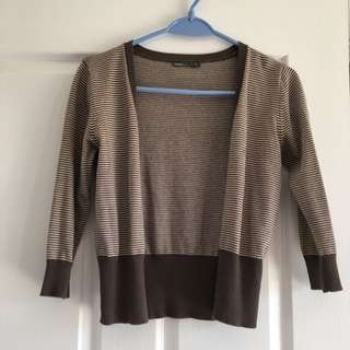 Brown Stripped Cardigan