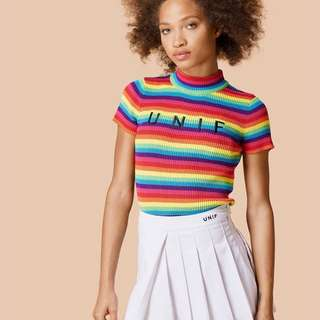 INSTOCK UNIF Inspired Lenny Rainbow Stripes Top