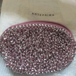 Authentic Anteprima Wire Zip Clutch In Pink Silver