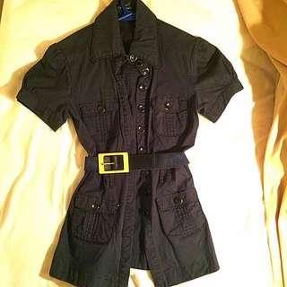Black Safari Style Shirt With Belt
