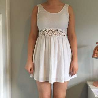 White Skater Dress With Lace Detail Size 10