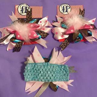 Baby big feather flowers elastic headband