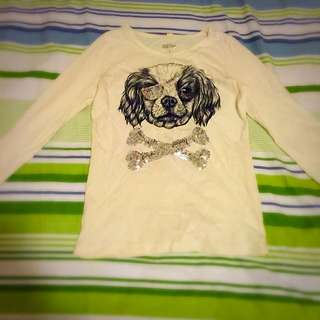 GBTee White Dog, Long Sleeved Shirt