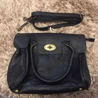 Faux Mulberry Black Medium Sized Handbag
