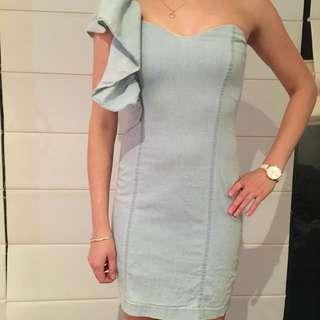 Bardot Denim Off The Shoulder Size 6 Dress Cocktail