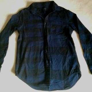 Ae Black And Dark Blue Flannel