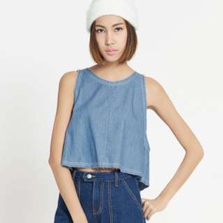 Pomelo Fashion Rendall Denim Sleeveless Top