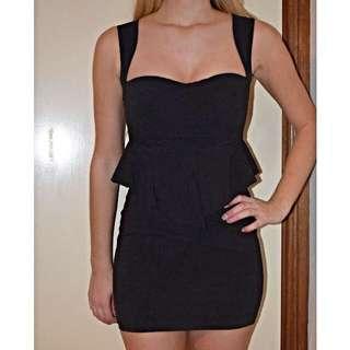 Black Peplum Tight Dress