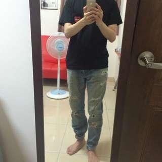 levi's 522小直筒 牛仔褲 破壞刷破 slim 冠希文樂