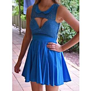 Bright Blue Skater Dress With Collar