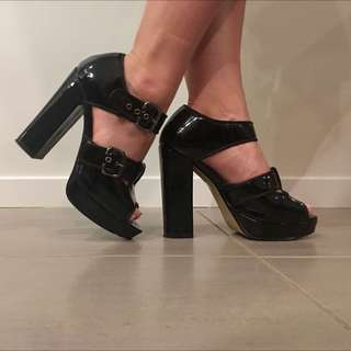 Black Patent Chunky Heels