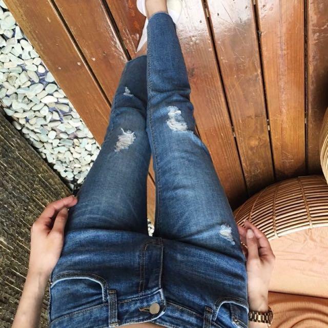 [歡迎詢問、可議]刷破牛仔八分褲