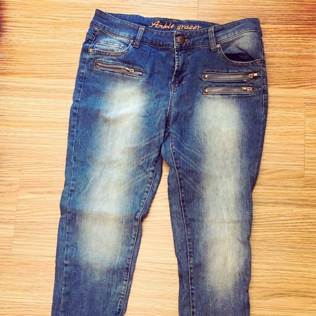 歐美風 拉鍊 裝飾 牛仔褲 牛仔長褲