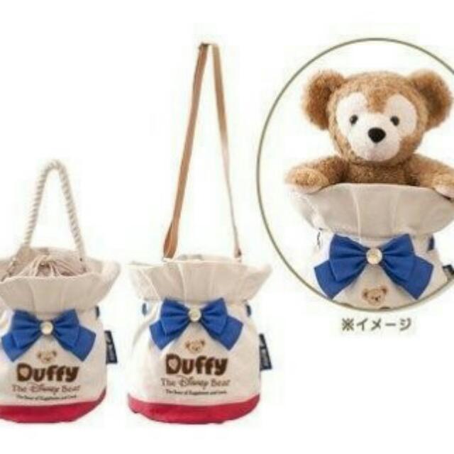 日本迪士尼海洋 Duffy 達菲 肩背束口水桶包