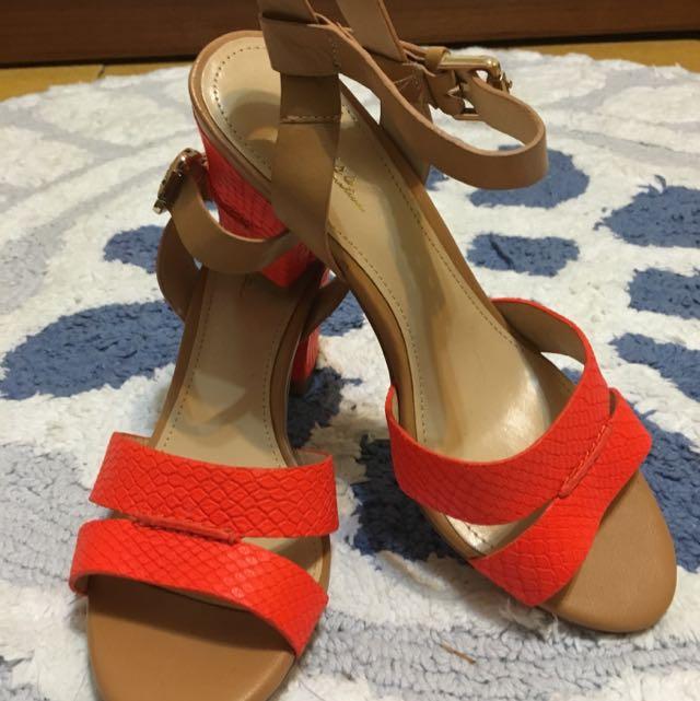 As 專櫃亮橘色艷夏高跟涼鞋