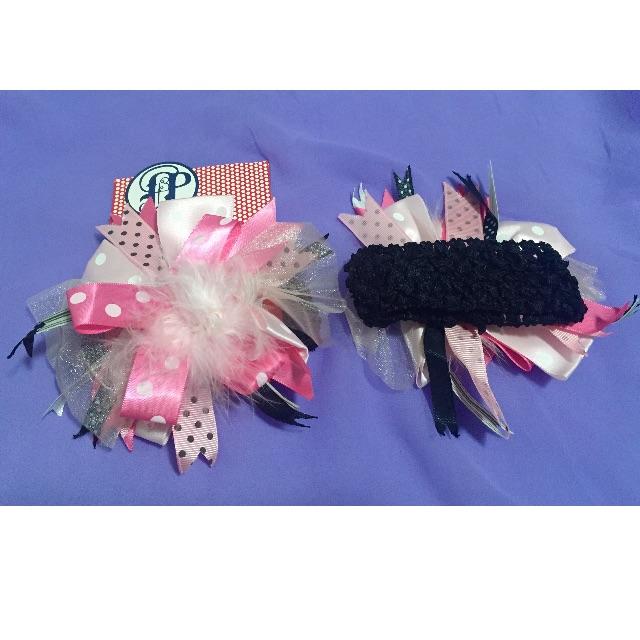 Baby big feather flowers elastic headband