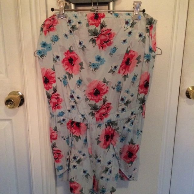 Bardot Floral Strapless Playsuit 10