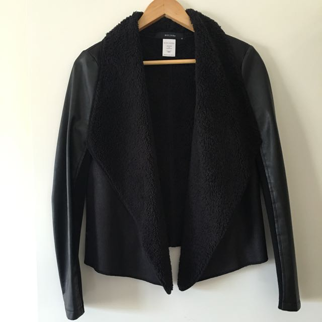 Black Faux Sheeps Wool And Leather Decjuba Jacket