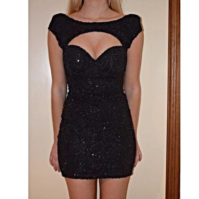 Black Sparkly Sequin Dress