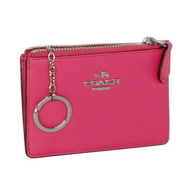 COACH淺桃色全皮金字飾牌卡夾鑰匙零錢包