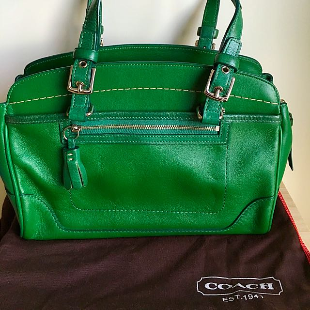 Coach green leather satchel