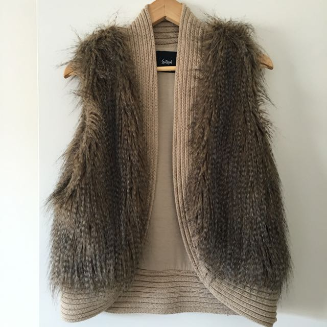 Faux Fur Vest With Chunky Knit Panelling