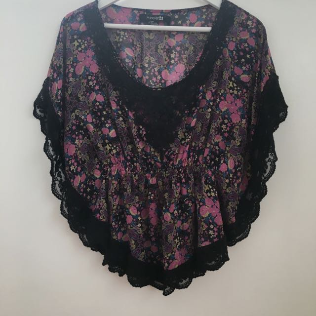 Forever21 Lace/Floral Blouse