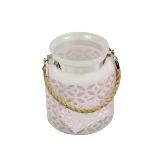 Frosted Lantern-  Pink