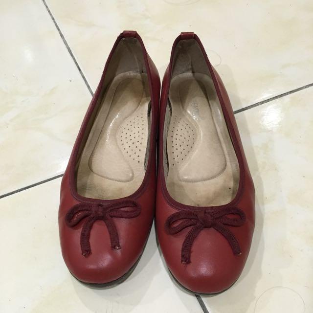 Green Pine 紅色小羊皮鞋