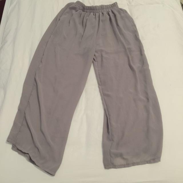 Grey Chiffon Pants