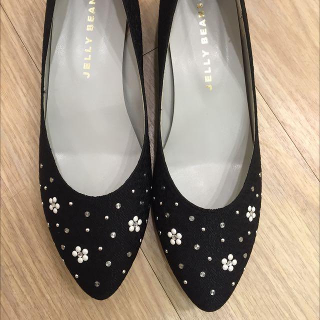 Jelly Beans 坡跟黑色尖頭鞋