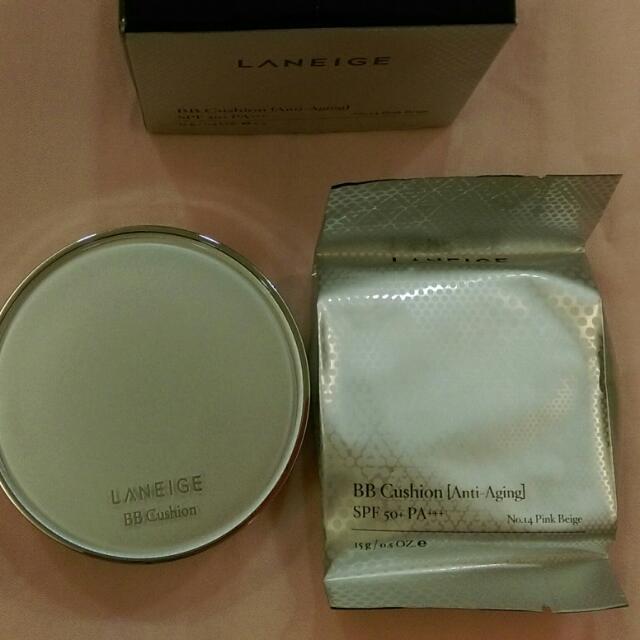 蘭芝LANEIGE氣墊粉餅 anti-aging氣墊水凝霜 緊致無痕升級附補充蕊 色號14