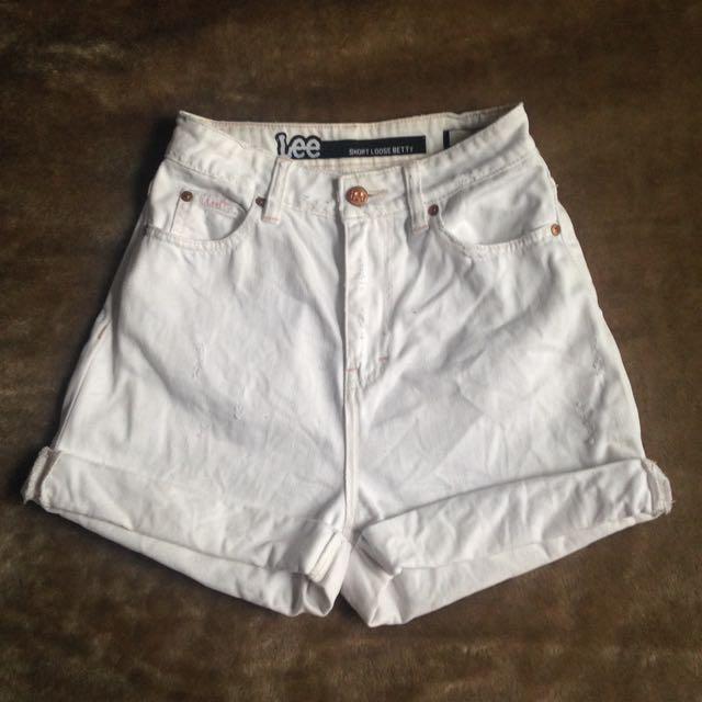 Lee White Denim Shorts