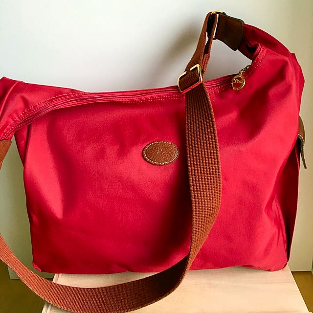 Longchamp LePliage red canvas hobo bag