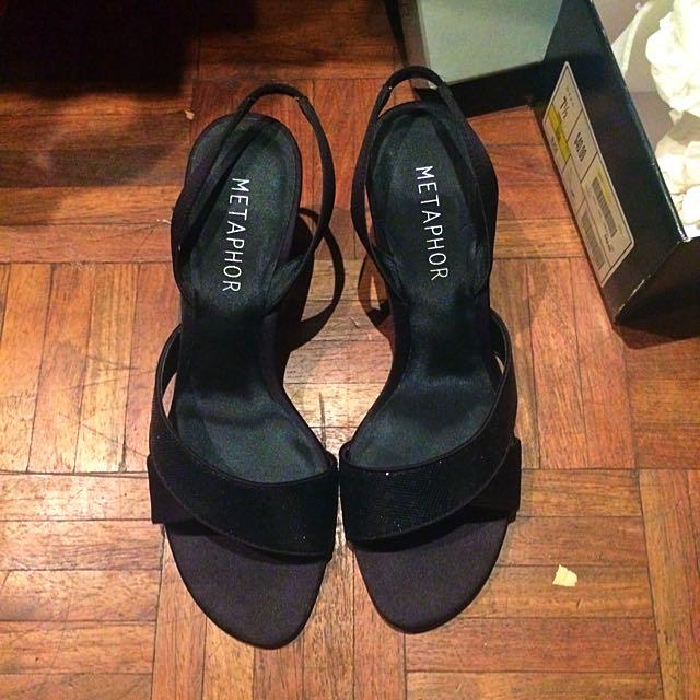 Metaphor Black Open Heels