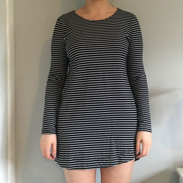 Mink Pink Black And White Stripe Long Sleeve Dress Size Medium