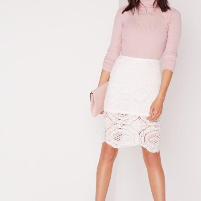 Missguided Crochet Midi Skirt Cream Size 4