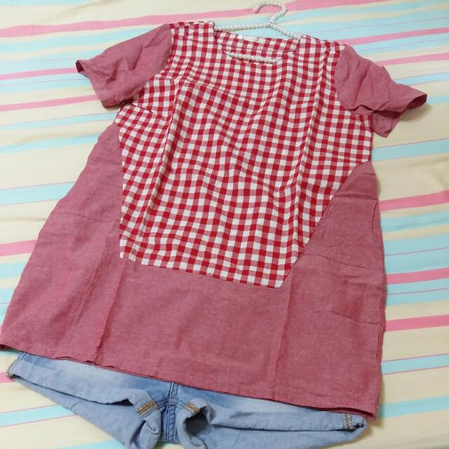 Pink格子拼接寬鬆長版上衣(紅色)